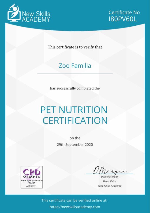 Зоо Фамили - Сертификат - Pet Nutrition